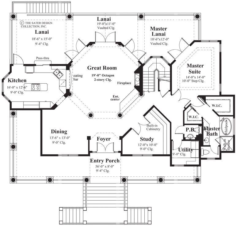 Luxury Custom Home Floor Plans: Main Level Floor Plan. The Sater Design Collection's