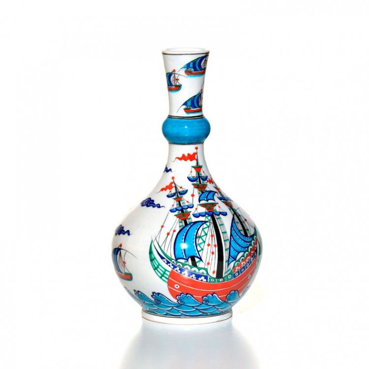 Iznik Vasefritware Painted In Bluered And Turquoise With Ships