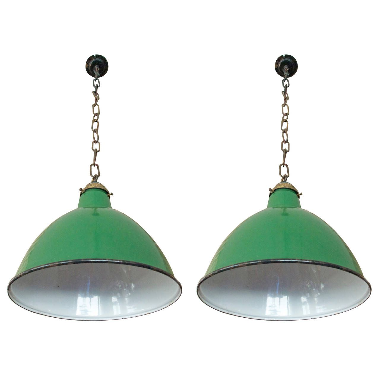 Pair of Mid Century Industrial Lights | 1stdibs.com