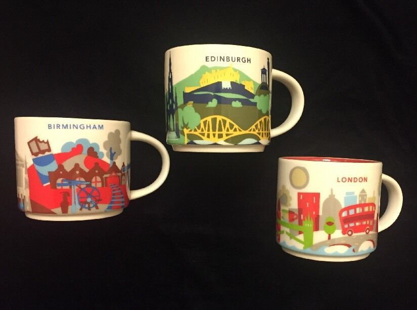 Starbucks London Birmingham Edinburgh Yah Mug Set Coffee Cup You Are Here Uk New