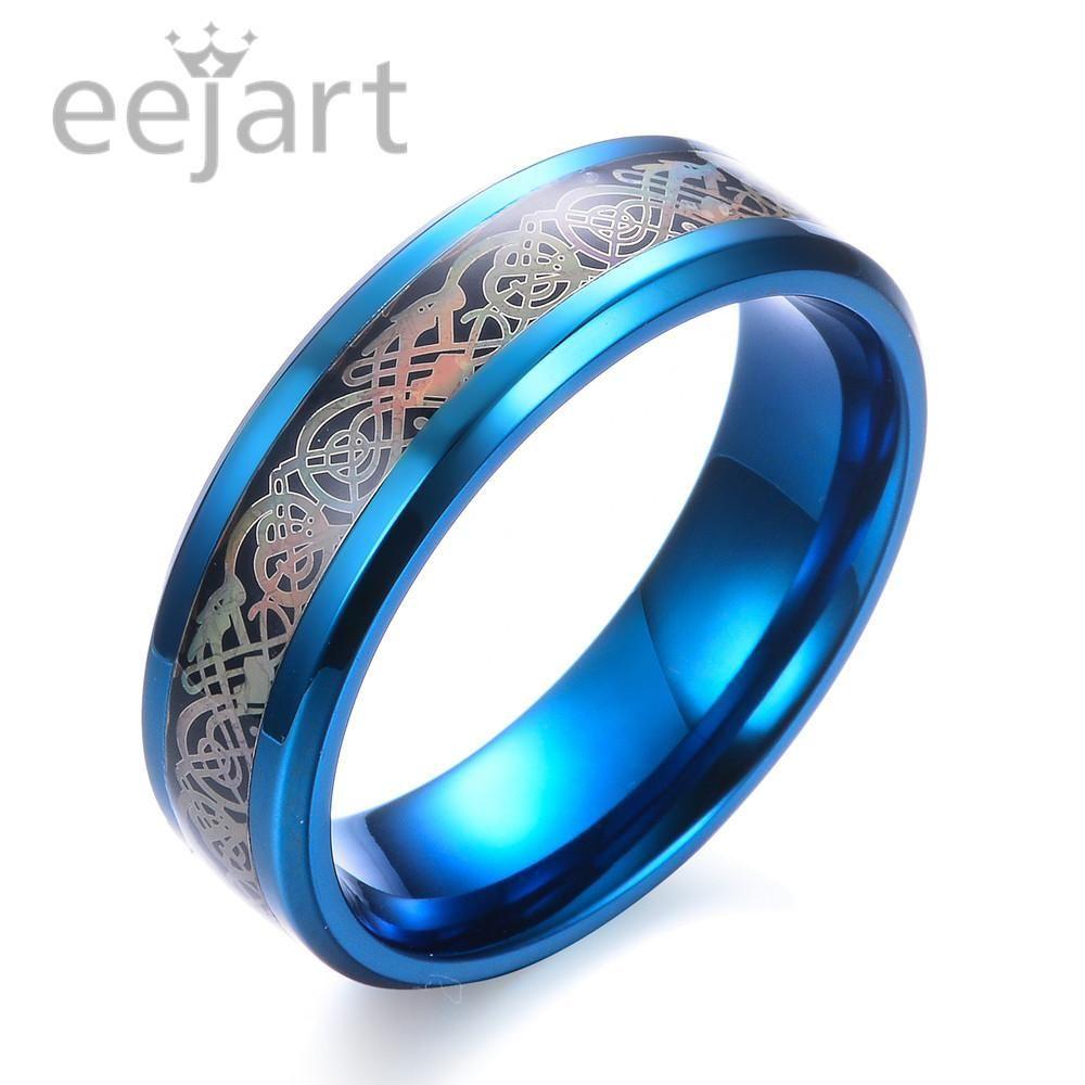 Black Titanium 316L Stainless steel Ring White Carbon Fiber Dragon Ring Man