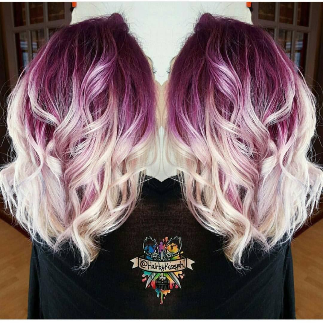 Gorgeous Deep Lilac Shadow Root With Vanilla White Blonde Shafts And Ends By
