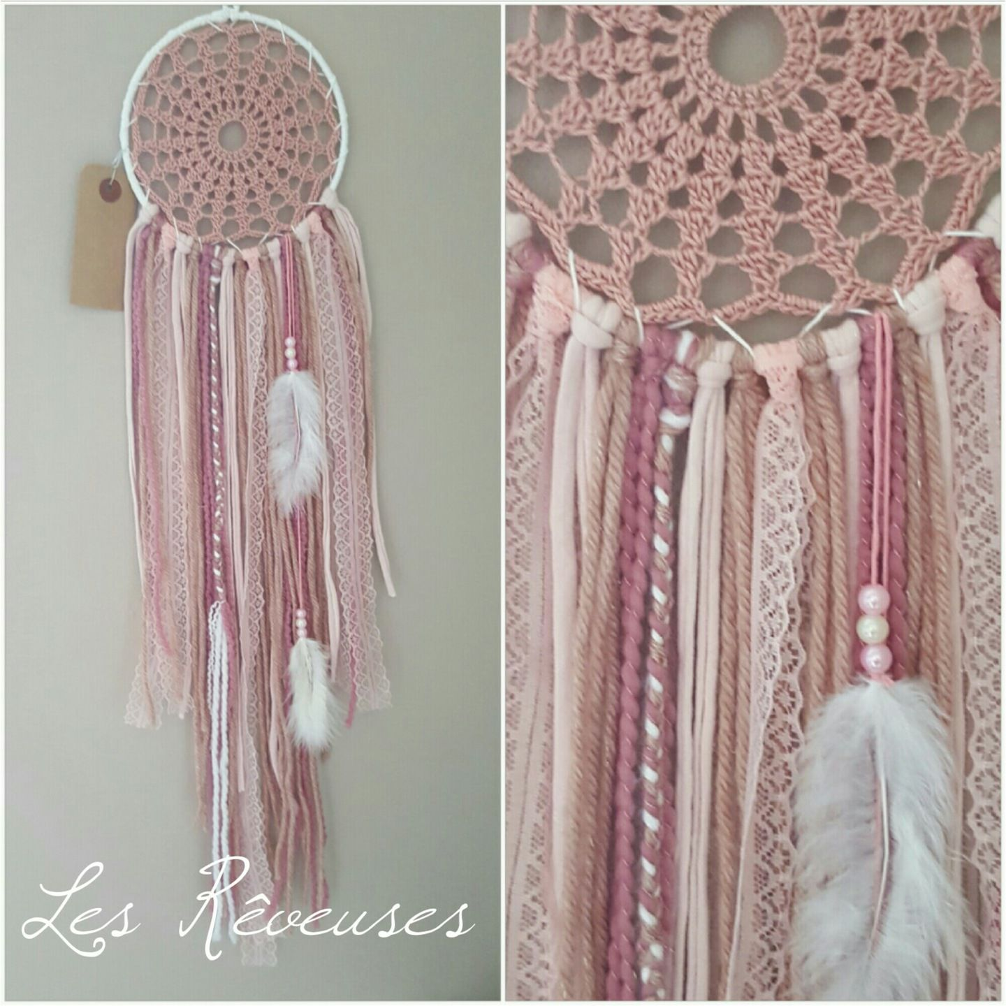 attrape r ve les r veuses personnalisable blanc et rose dream catcher dreamcatchers. Black Bedroom Furniture Sets. Home Design Ideas