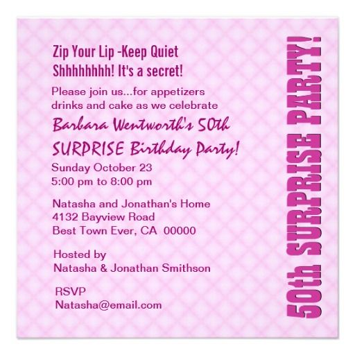 SURPRISE 50th Modern Birthday Pink Personalized Invitations