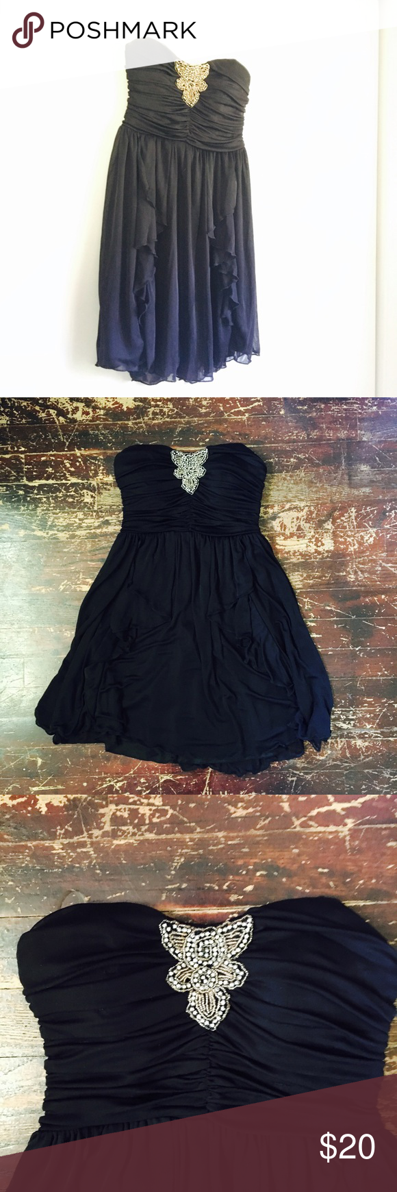 Black flowy dress black gold conditioning and nice