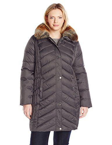 9182bd9d2a5 Halifax Traders Women s Plus-Size Chevron Puffer Coat with Faux Fur Collar
