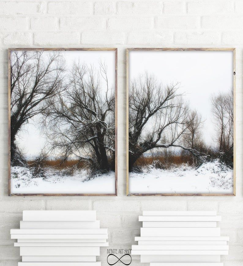 Snow Print Sets Of 2 Winter Trees Branches Snow Wall Art Winter Landscape Printable Decor Wal Modern Wall Art Prints Photography Prints Art Nature Wall
