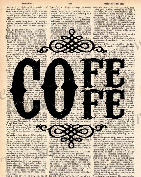 Vintage Dictionary Coffee Decor Print : Kitchen
