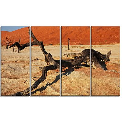 DesignArt 'Decayed Tree in Dead Valley' 4 Piece Photographic Print on Wrapped Canvas Set