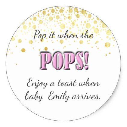Pop It Pink Baby Shower Wine Champagne Classic Round Sticker - Round sticker template