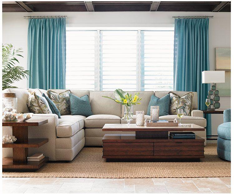 lexington home brands  blue living room decor curtains