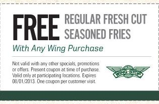 graphic relating to Red Wing Coupon Printable known as Pin upon Wingstop Discount coupons