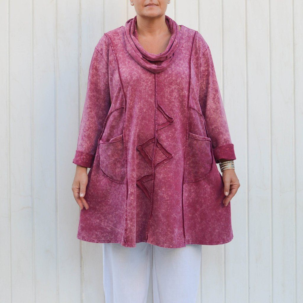 4c647d085b4 ... Plus Size Lagenlook. LOLA - Cotton Tunic with Scarf - 9504