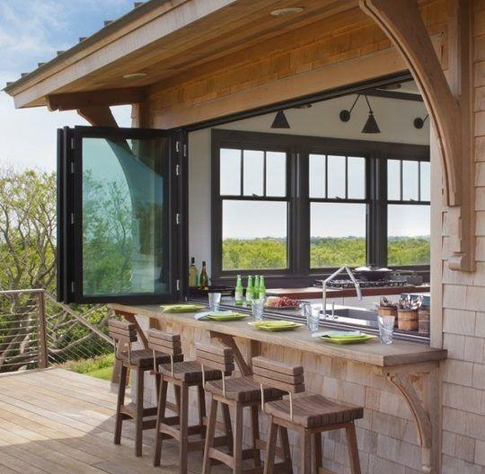 Indoor Bar: Install Accordion Windows To Bridge The Gap Between