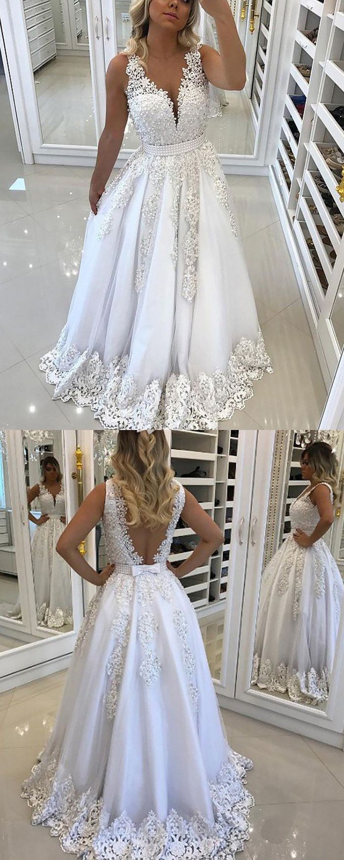 Elegant white vneck lace appliqued princess long prom dress pm