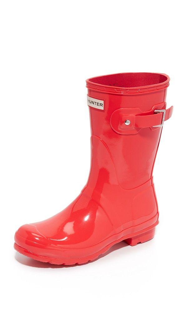Hunter Boots Original Short Gloss Boots - Bright Coral ...