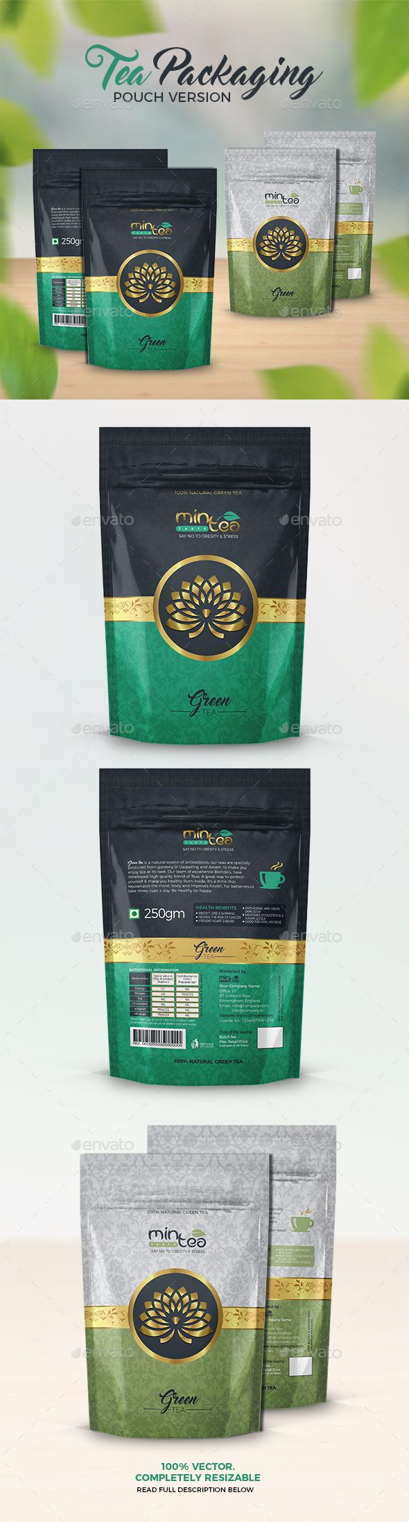 Tea Packaging (Pouch Version) - Packaging Print Templates #teapackaging