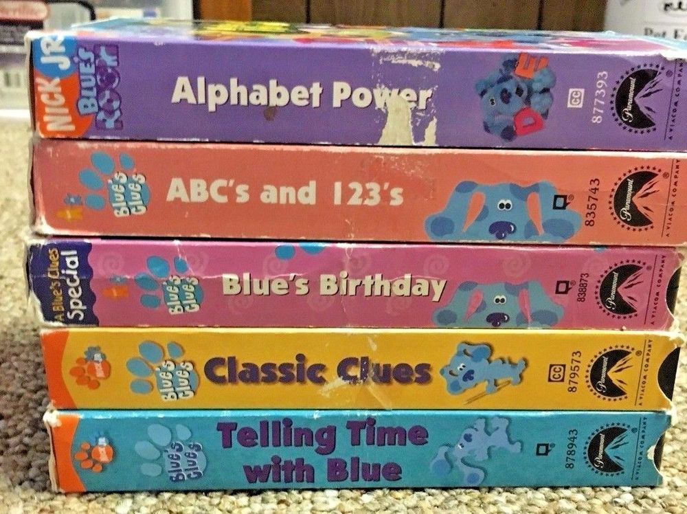 Blues Clues Vhs Tapes Lot Alphabet Birthday Abc 123 Classic Telling