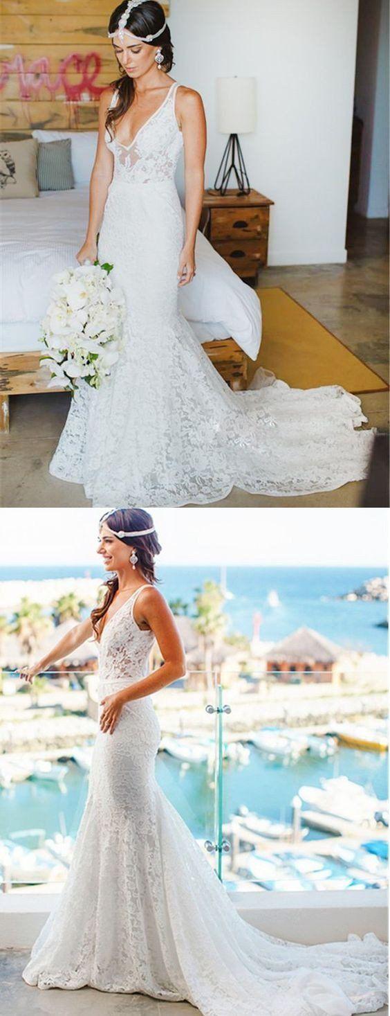 Affordable lace v neck online elegant long wedding dresses bg