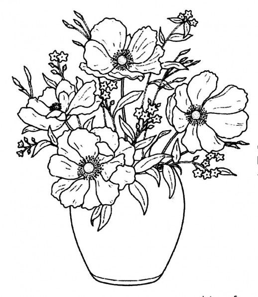 Pretty Flowers In Simple Vase Beautify Your House Coloring Pages 518x595 Jpg 518 595 Flower Vase Drawing Flower Drawing Floral Drawing