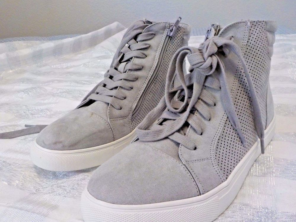 STEVE MADDEN 'DEMMIE' HIGH TOP PERFORATED SNEAKERS GRAY