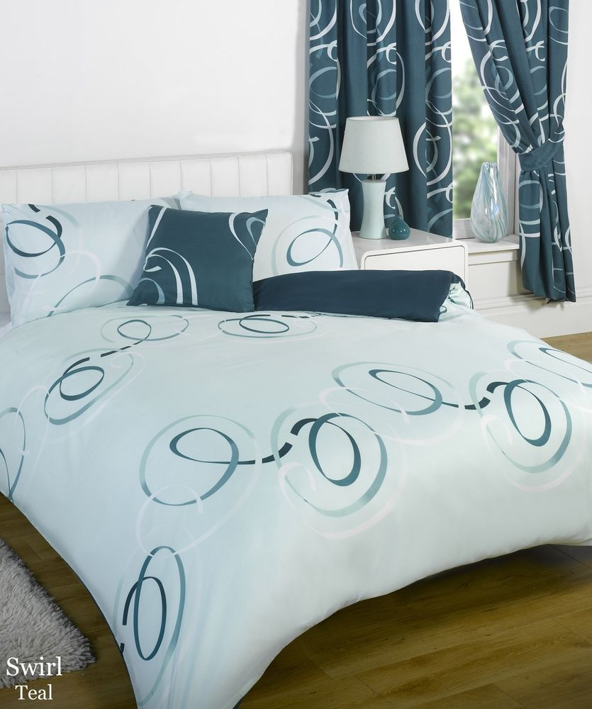 Per Duvet Complete Bedding Set With Matching Curtains Swirls King Teal