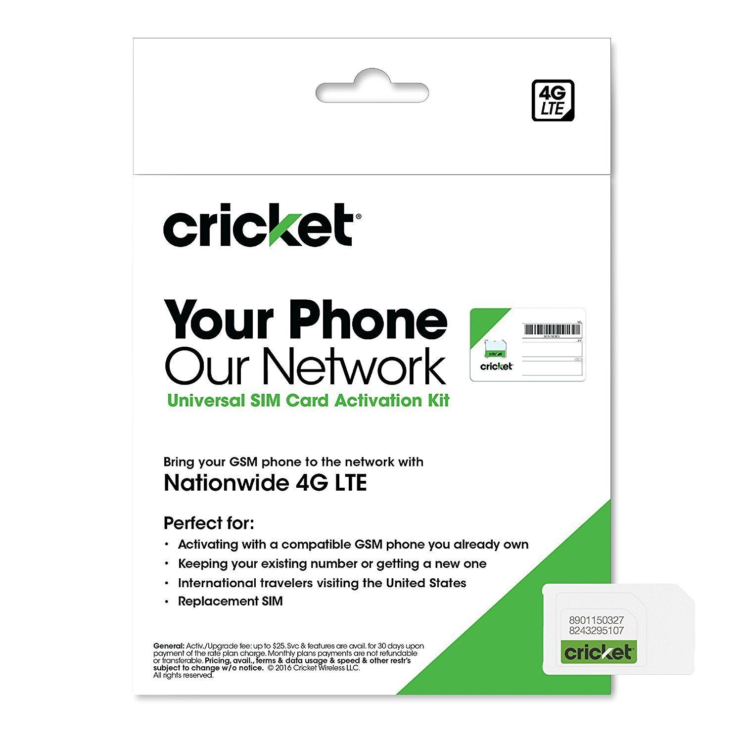 Cricket wireless complete starter pack nano sim card with