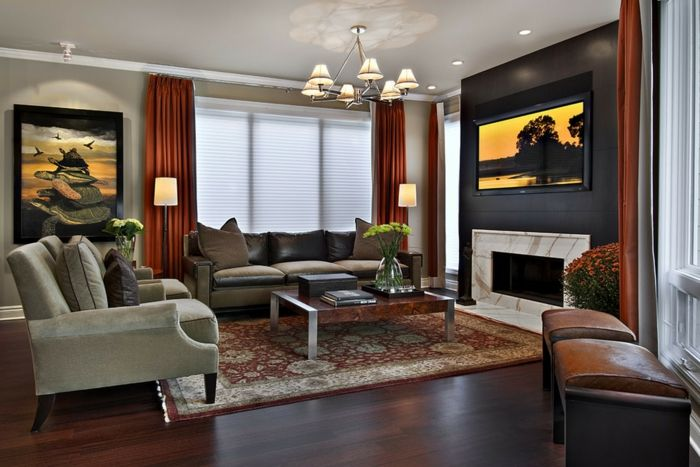 wandgestaltung ideen wohnzimmer orange gardinen schwarze akzentwand ...