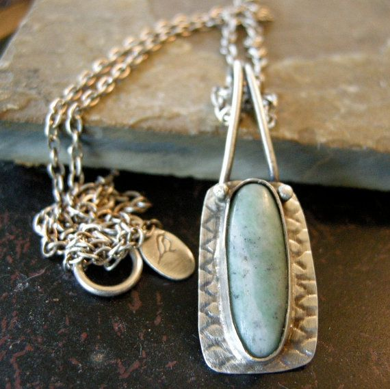 Sterling silver necklace with pale blue by coldfeetjewelry on Etsy, $64.00