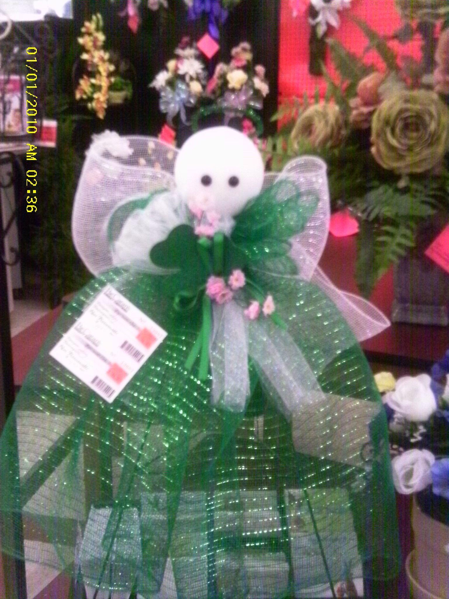 deco mesh st patrick angel craft ideas pinterest angel wreaths and craft. Black Bedroom Furniture Sets. Home Design Ideas