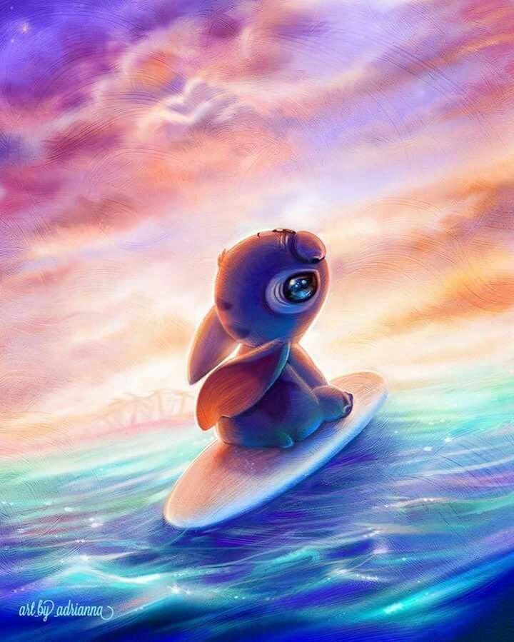 Stich Sur Une Planche De Surf Au Couche Du Soleil Fond D Ecran Dessin Disney Fond D Ecran Colore