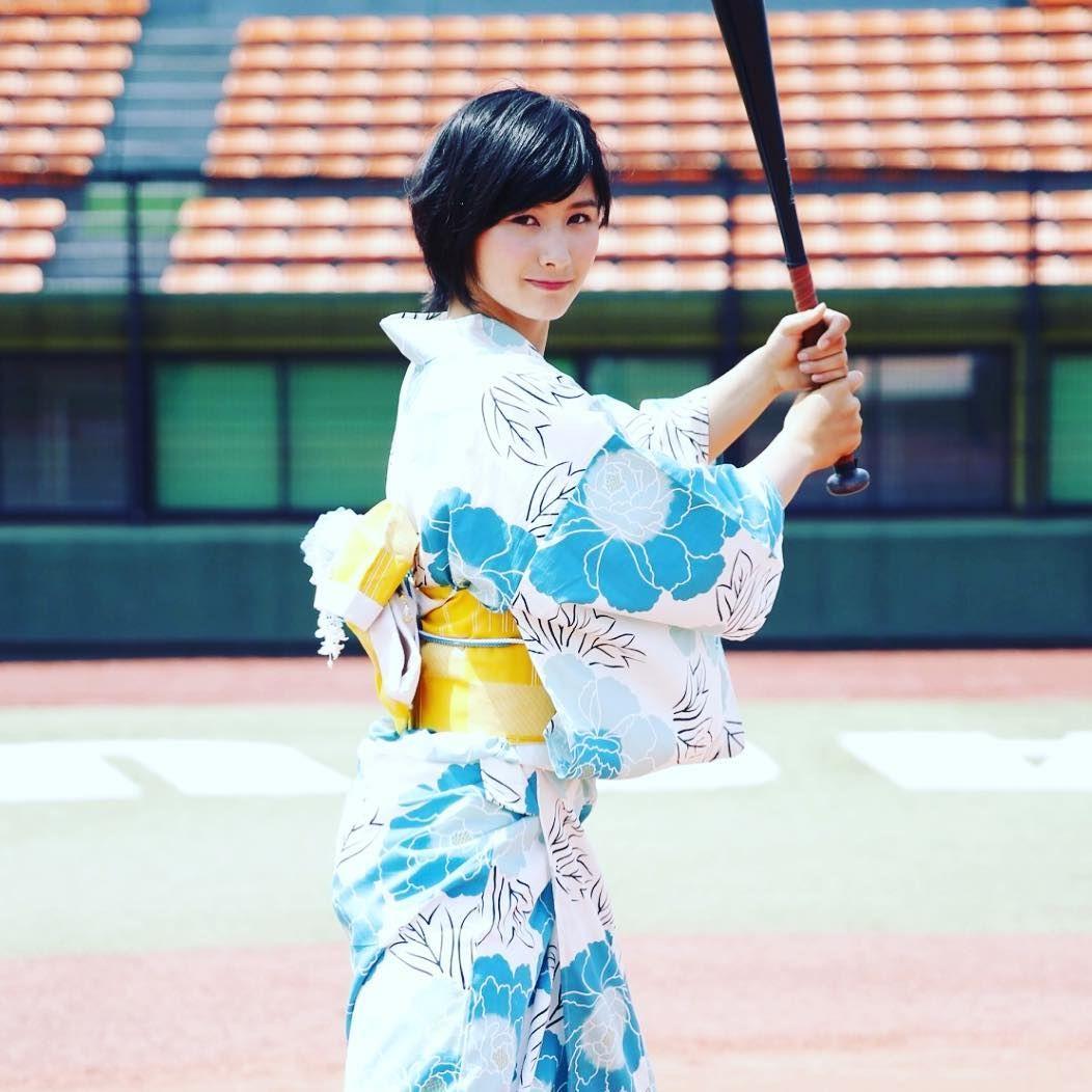 加藤優が浴衣姿でバットを構え\u2026「可愛すぎる野球選手」の凛々