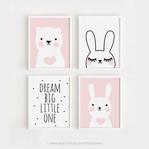 Druckbare Kindergarten-Kunst-Set von 4 Poster Babymädchen Zimmer Wandkunst Rosa Dekor Bär und Hase Druck Traum große digitale Datei INSTANT DOWNLOAD #girlrooms