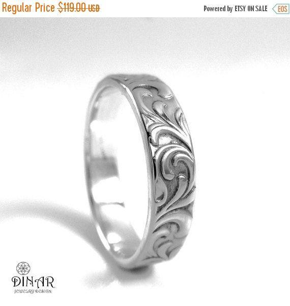 6mm Sterling Silver Wedding Band Leaf Engravings Hand Engraved Scrolls