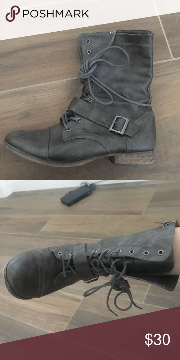Distressed combat boots Worn twice Breckelles Shoes Combat & Moto Boots