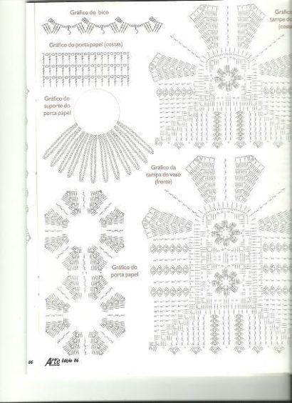 moldes de jogos de banheiro em crochê com gráficos