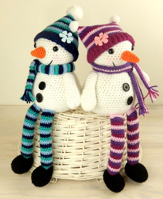 Mr & Mrs Snow with Christmas Tree Gift Bag - Amigurumi Crochet ...
