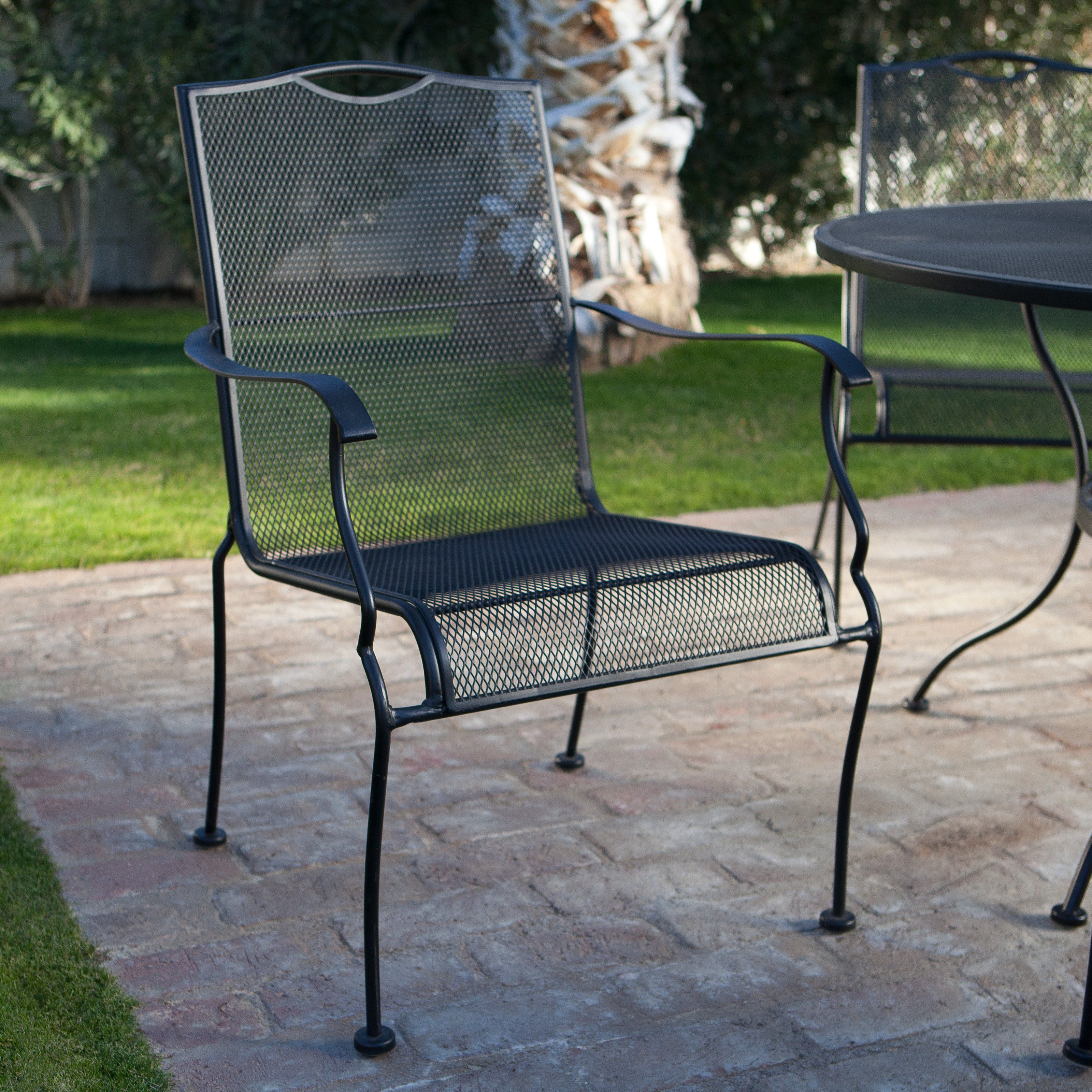 Belham Living Stanton Wrought Iron Dining Chair By Woodard Set Of 4 Textured Patio Furniture Dining Set Black Patio Furniture Wrought Iron Patio Furniture
