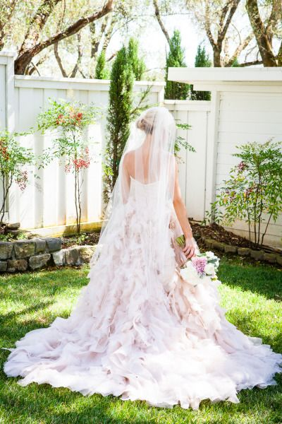 Flowing pink wedding dress: http://www.stylemepretty.com/california-weddings/glen-ellen/2014/06/12/romantic-meets-rustic-wine-country-wedding/ | Photography: Kate Webber - http://katewebber.com/