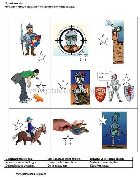 Spreekwoorden ridders en kastelen geschiedenis ridders for Werkbladen ridders en kastelen