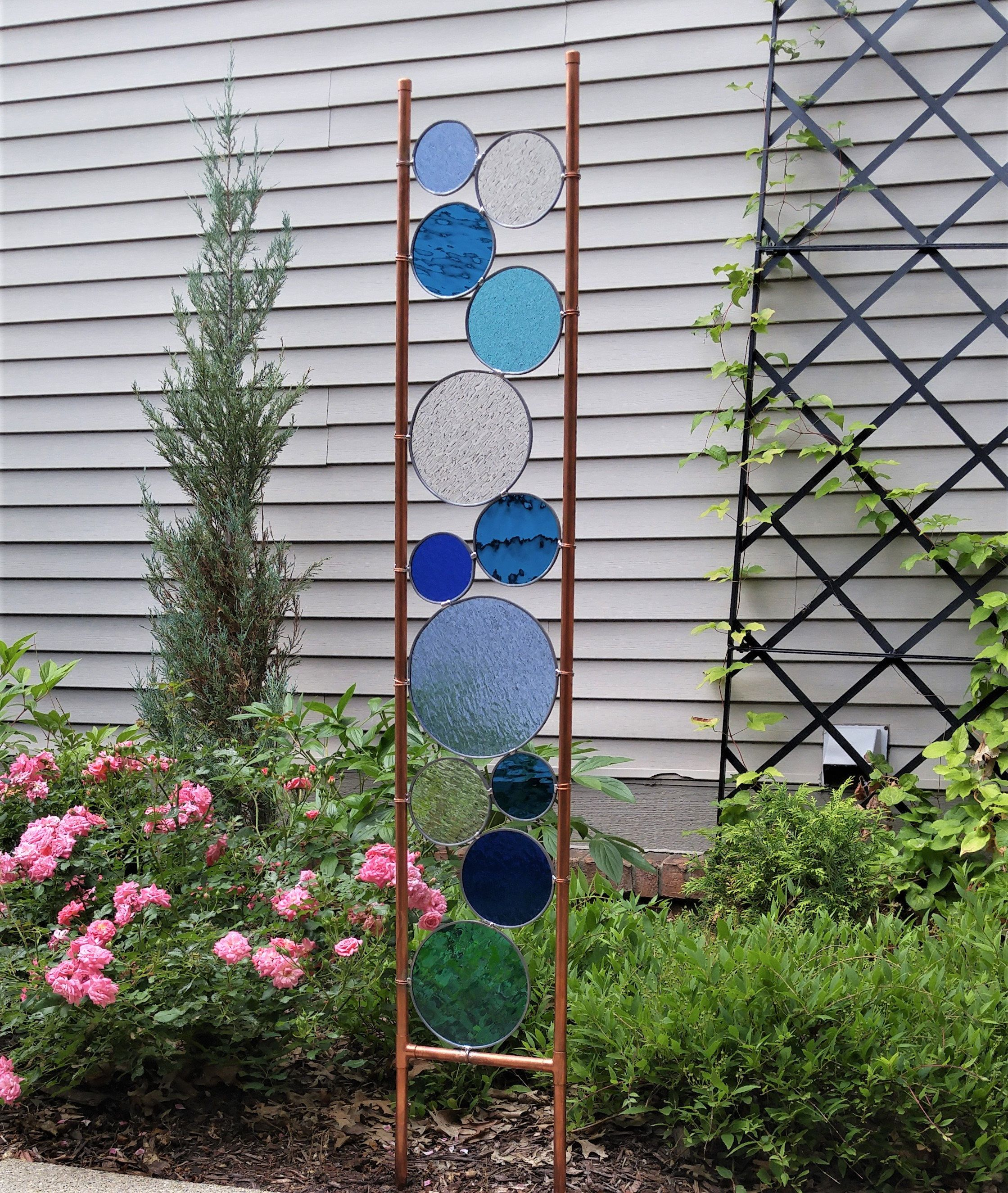 Glass yard art  Stained glass garden art stake tall copper sculpture Beautiful