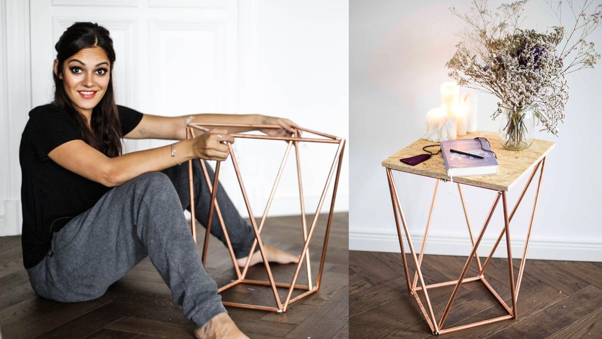 Zeitschriften Beistelltisch aus Kupferrohren selber bauen