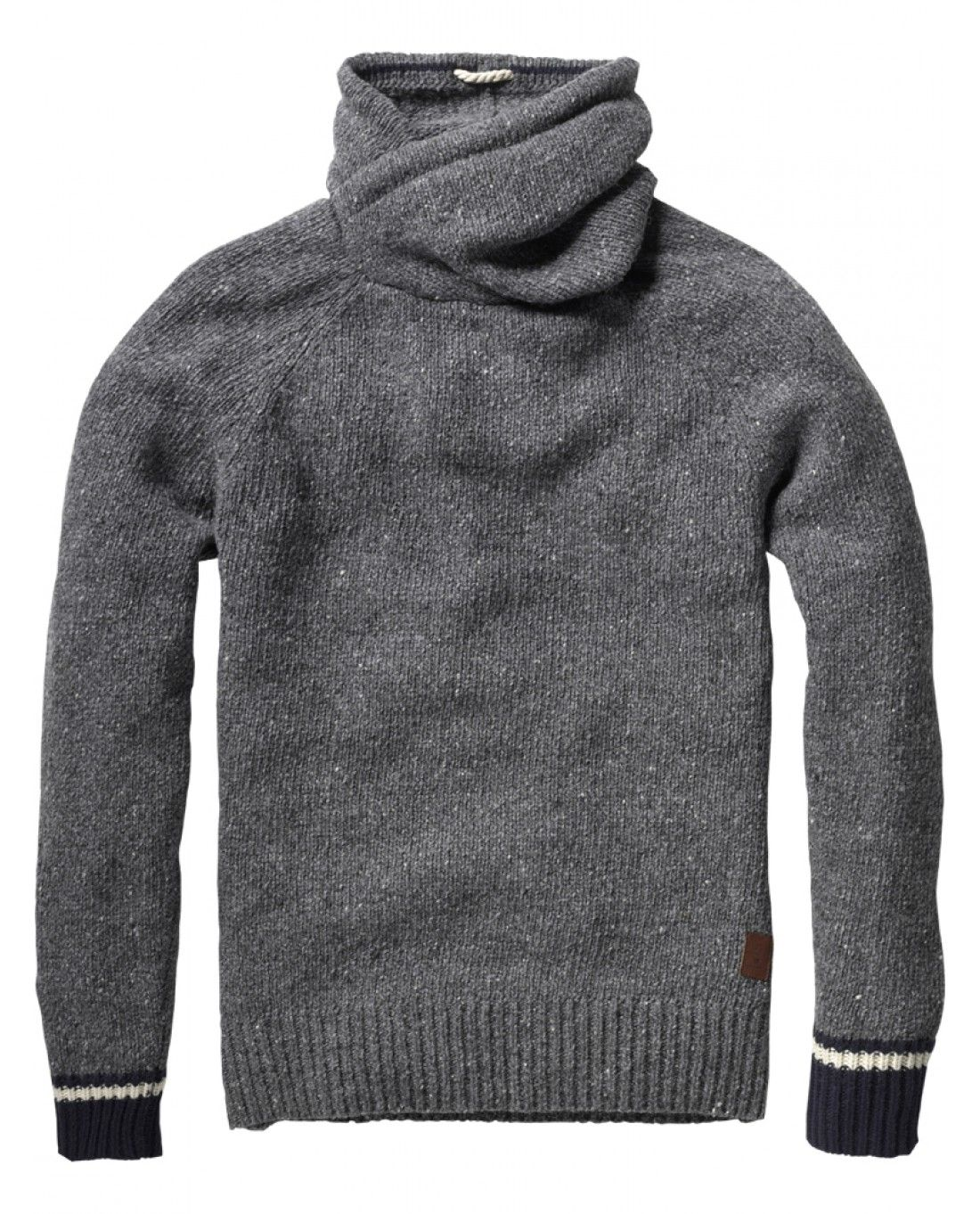 NAPS YARN PULL WITH TWISTED HOOD AND CONTRASTING CUFFS