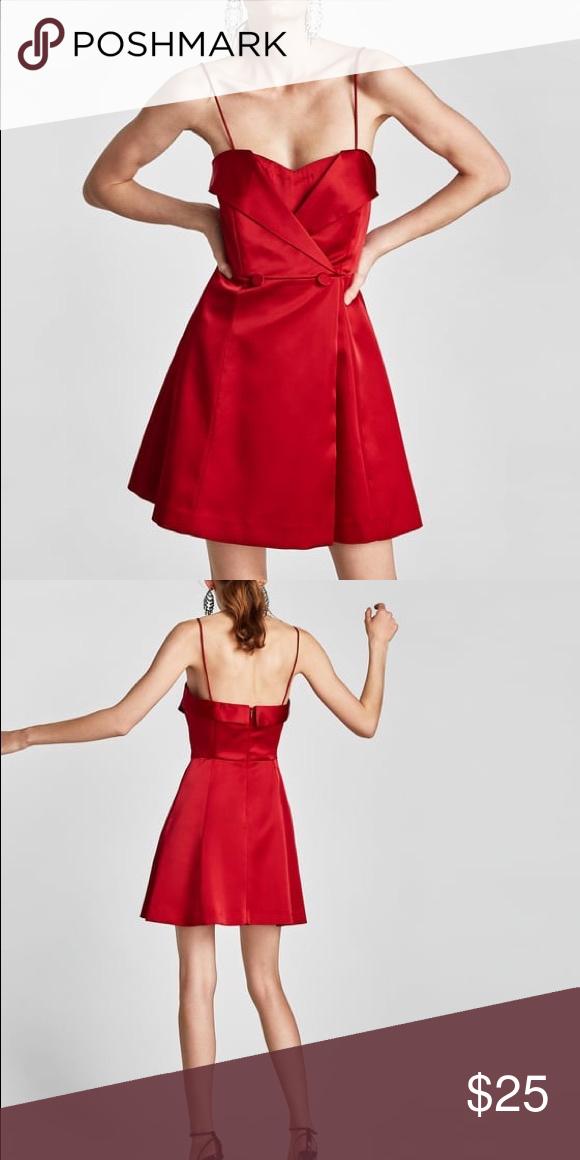 079fc6e2 Red Satin Dress with Spaghetti Straps never worn before Zara Dresses Mini