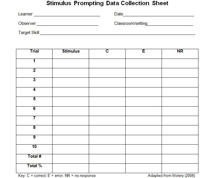 Stimulus Prompting Data Collection Sheet  Autism