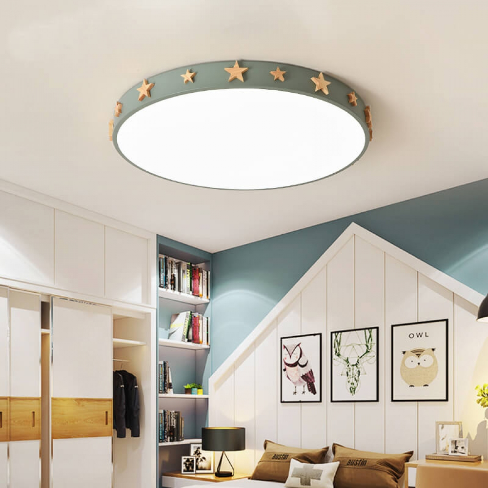 Macaron Color Led Ceiling Lamp Wood Iron Creative Children S Room