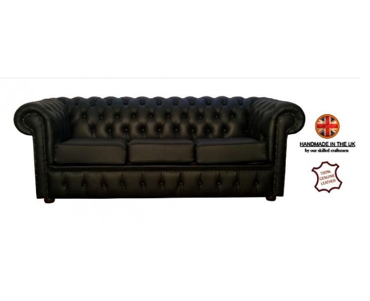 Chesterfield Genuine Leather Shelly Black Three Seater Sofa Sofa Three Seater Sofa Leather Sofa