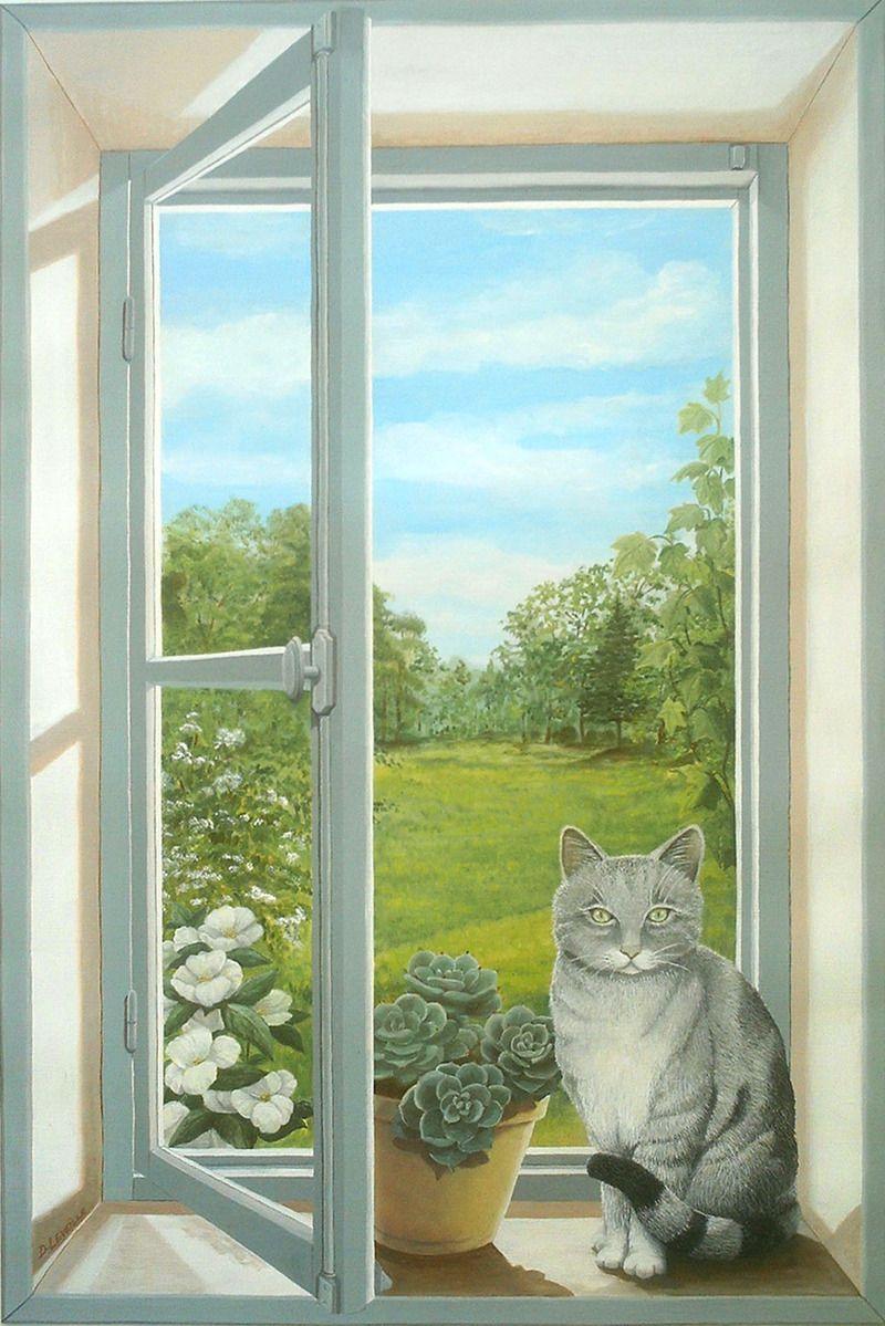 39 trompe l 39 oeil window with a cat 39 didier leveille fen tre en trompe l 39 oeil avec un chat. Black Bedroom Furniture Sets. Home Design Ideas