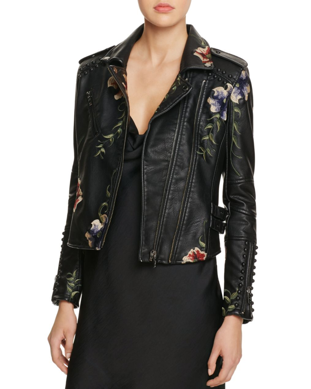 BLANKNYC Studded Embroidered Faux Leather Motorcycle Jacket - 100%  Bloomingdale's Exclusive