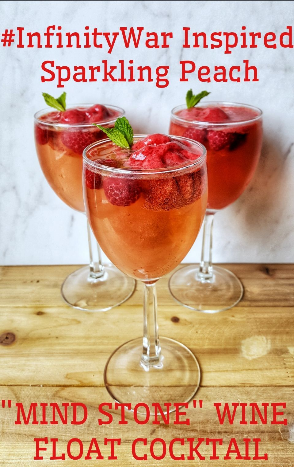 Infinitywar Inspired Sparkling Peach Mind Stone Wine Float Cocktail Mind Stone Wine Float Cocktail Recipes